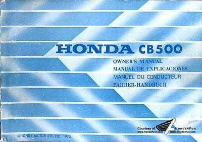 Honda Cb500 1975 Owners Manual