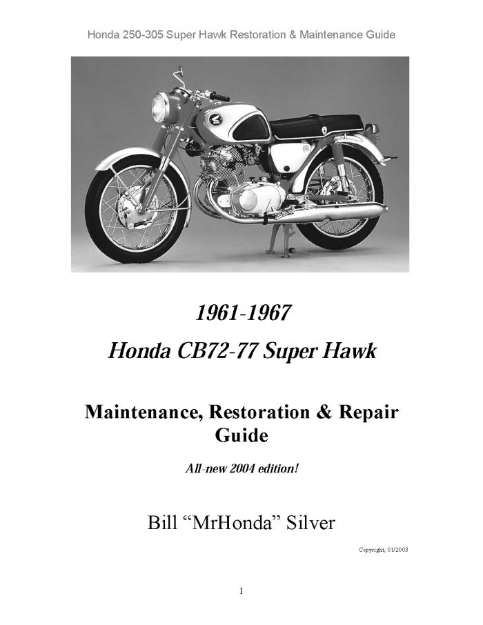 Parts manual: honda cb72, cb77, cp77, cyp77 parts diagrams, part.