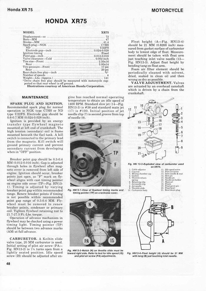 Honda XR75 Service manual