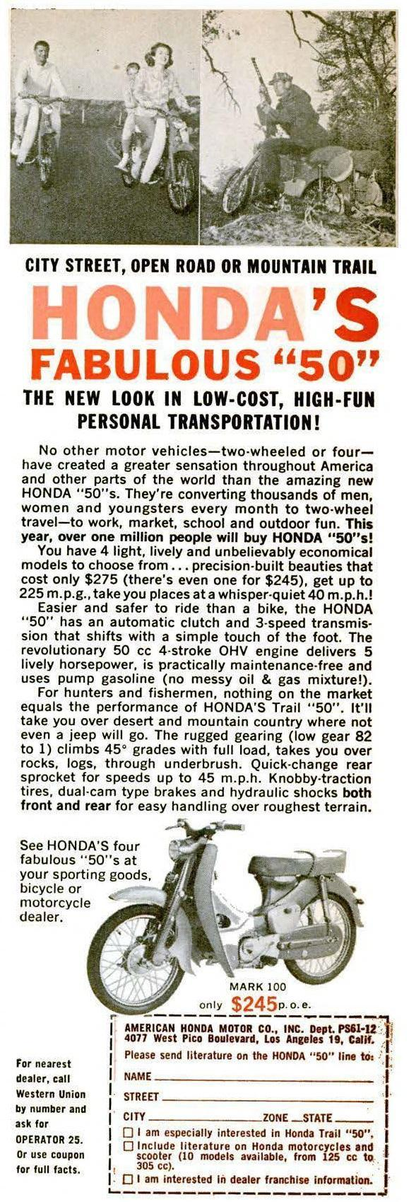 Popular Science dec 1961 p175 CA100T honda