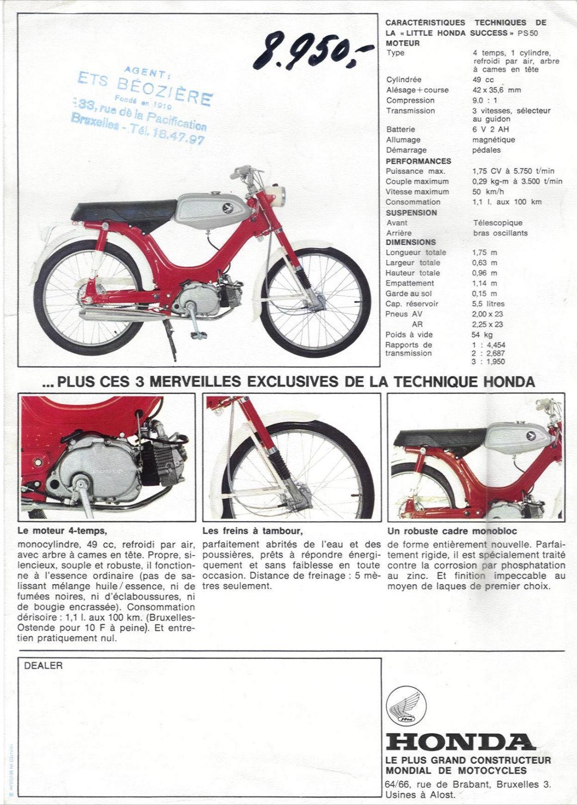 Old Brochure Honda Ps50 Ss50 Wiring Diagram Folder 2