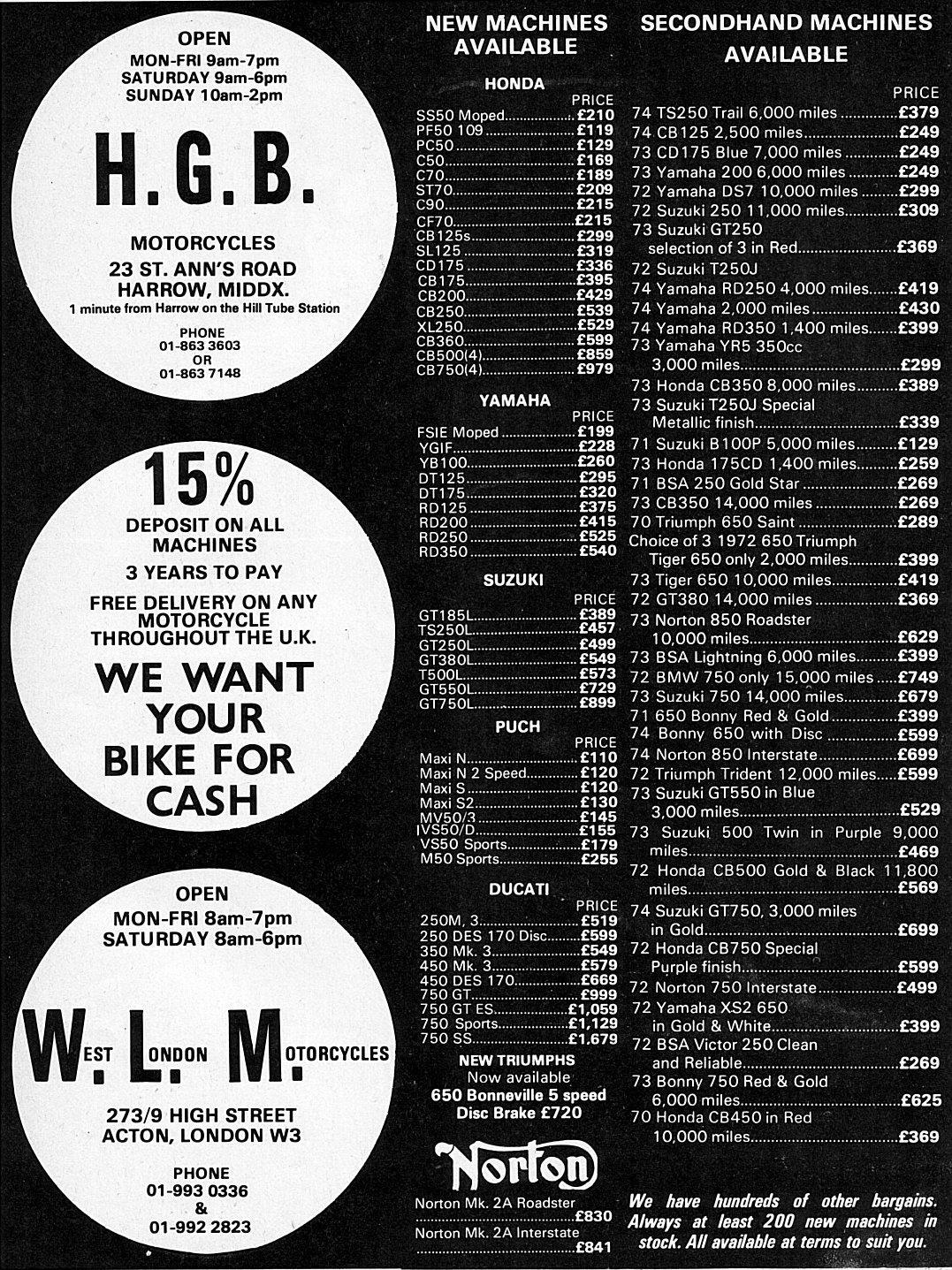 bike advert dec74