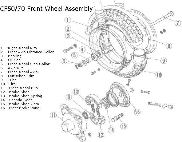 honda ct70 front wheel diagram  honda  auto parts catalog and diagram