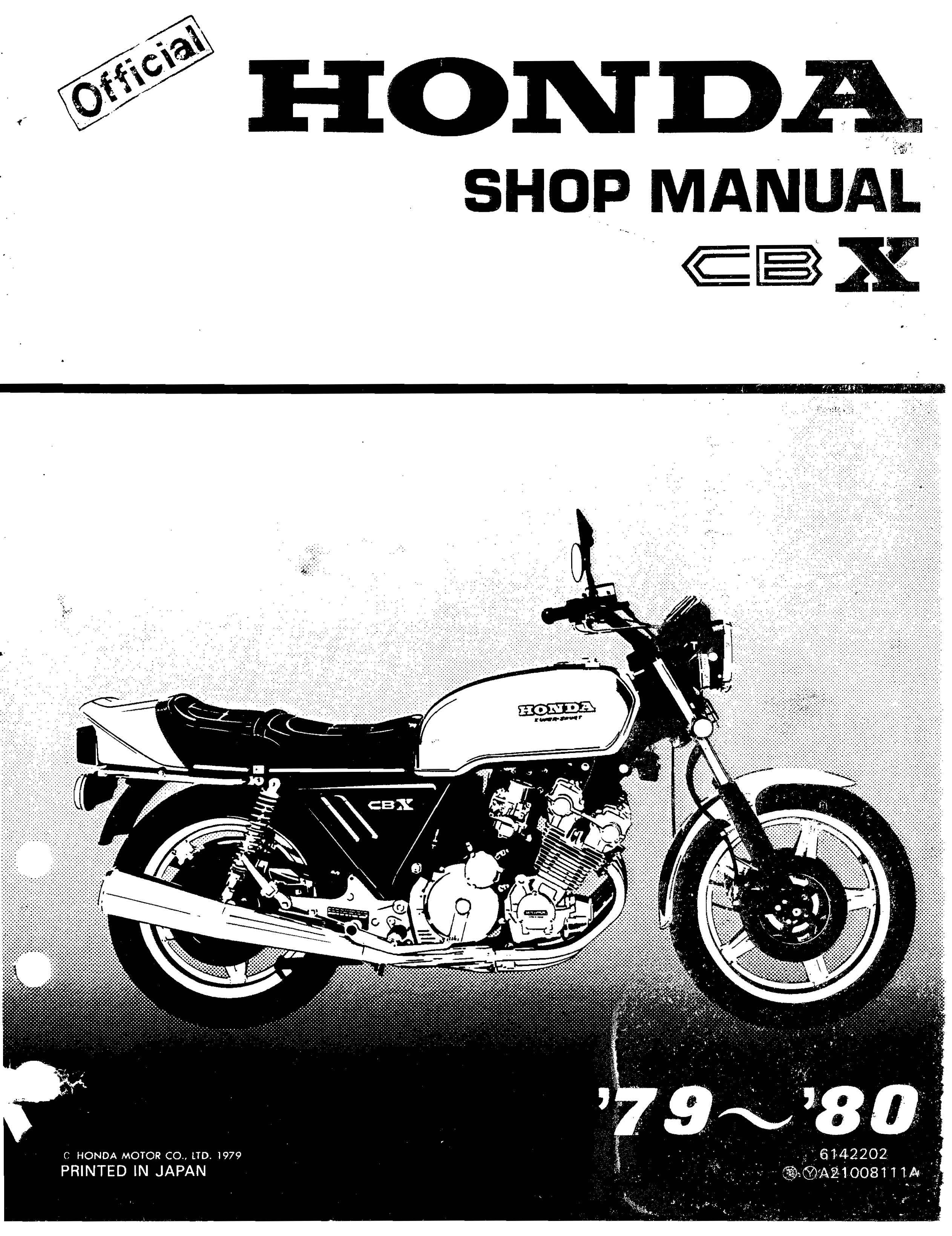 Workshop manual for the Honda CBX (1979 - 1980)