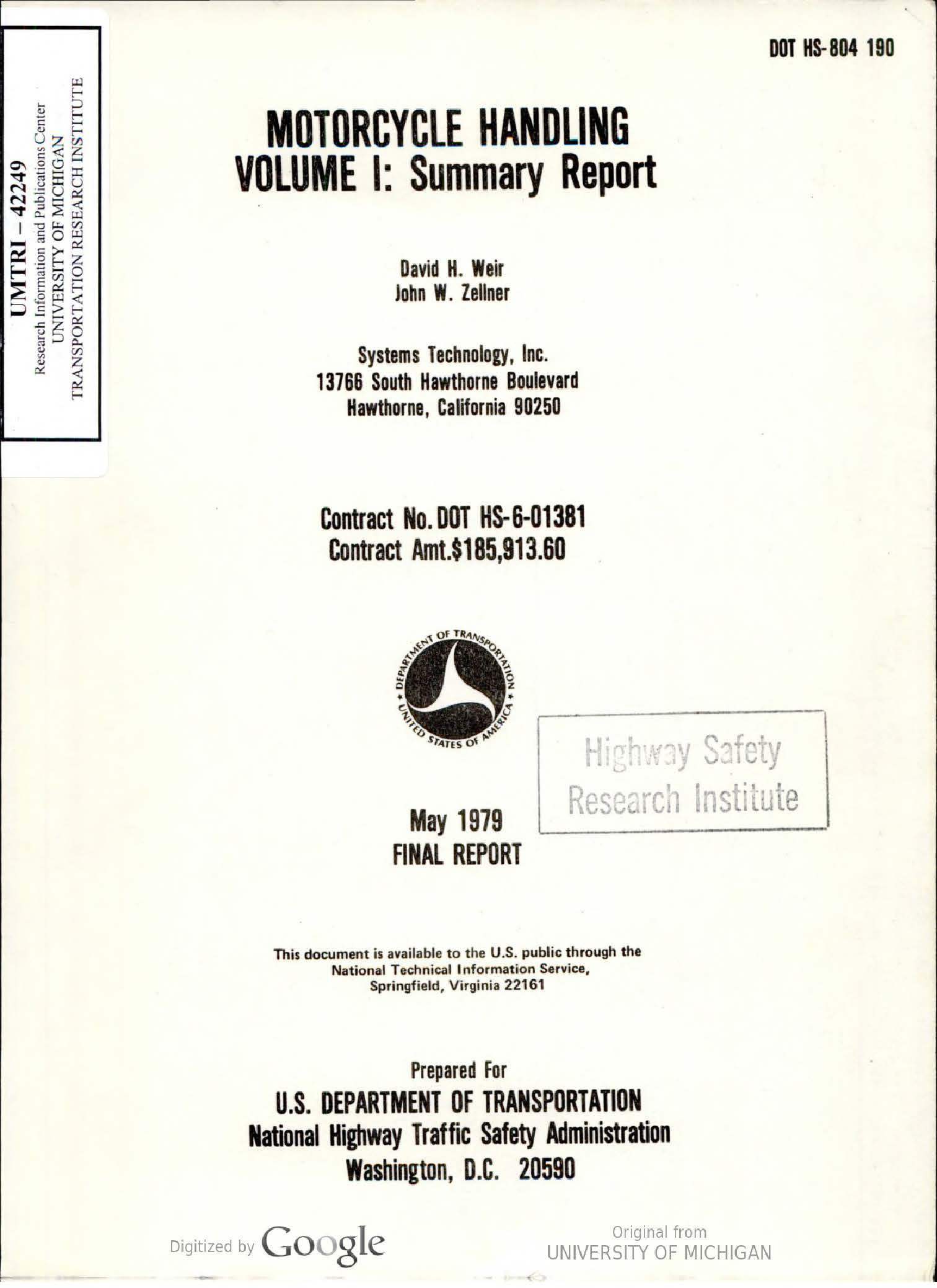 Motorcycle handling - volume 1 (1979)