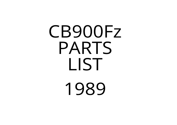 Parts list for Honda CB900F (1989)