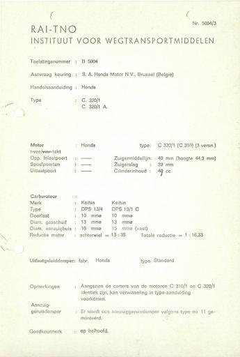 RDW keuringsverslagen Honda C310 I C310A  (Geen Datum)  (Geen Dossiernr)  B5004