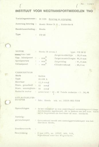 RDW keuringsverslagen Honda CD50 2 Juni 1971 12747 B1124