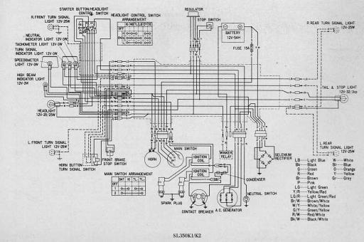 Wiring schematic for Honda SL350K1