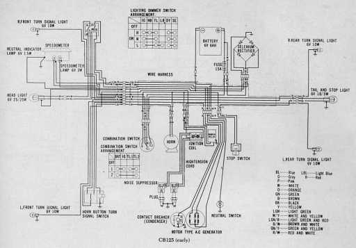 honda cb125 (early) wiring schematic 4 stroke net all the data Trx350 Wiring Diagram honda cb125 (early) wiring schematic