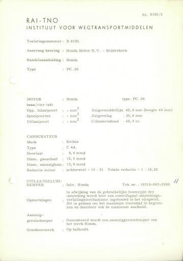 RDW keuringsverslagen Honda PC50 (Geen Datum) (Geen Dossiernr) B8105