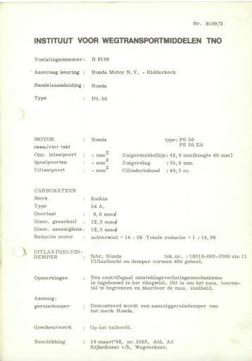 RDW keuringsverslagen Honda PS50 19 Maart 1968 5303 B8109