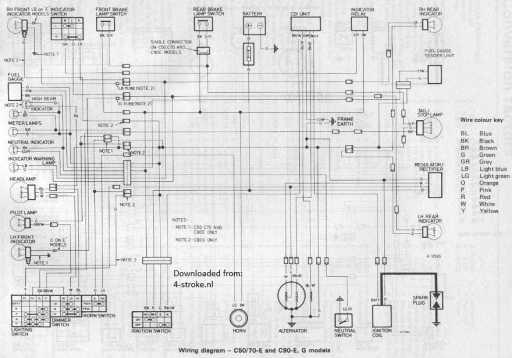 honda c wiring diagram honda image wiring diagram wiring schematic 4 stroke net all the data for your honda on honda c70 wiring diagram