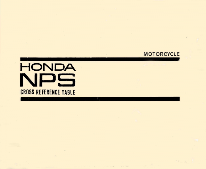 Honda NPS Cross Reference Table (1966)