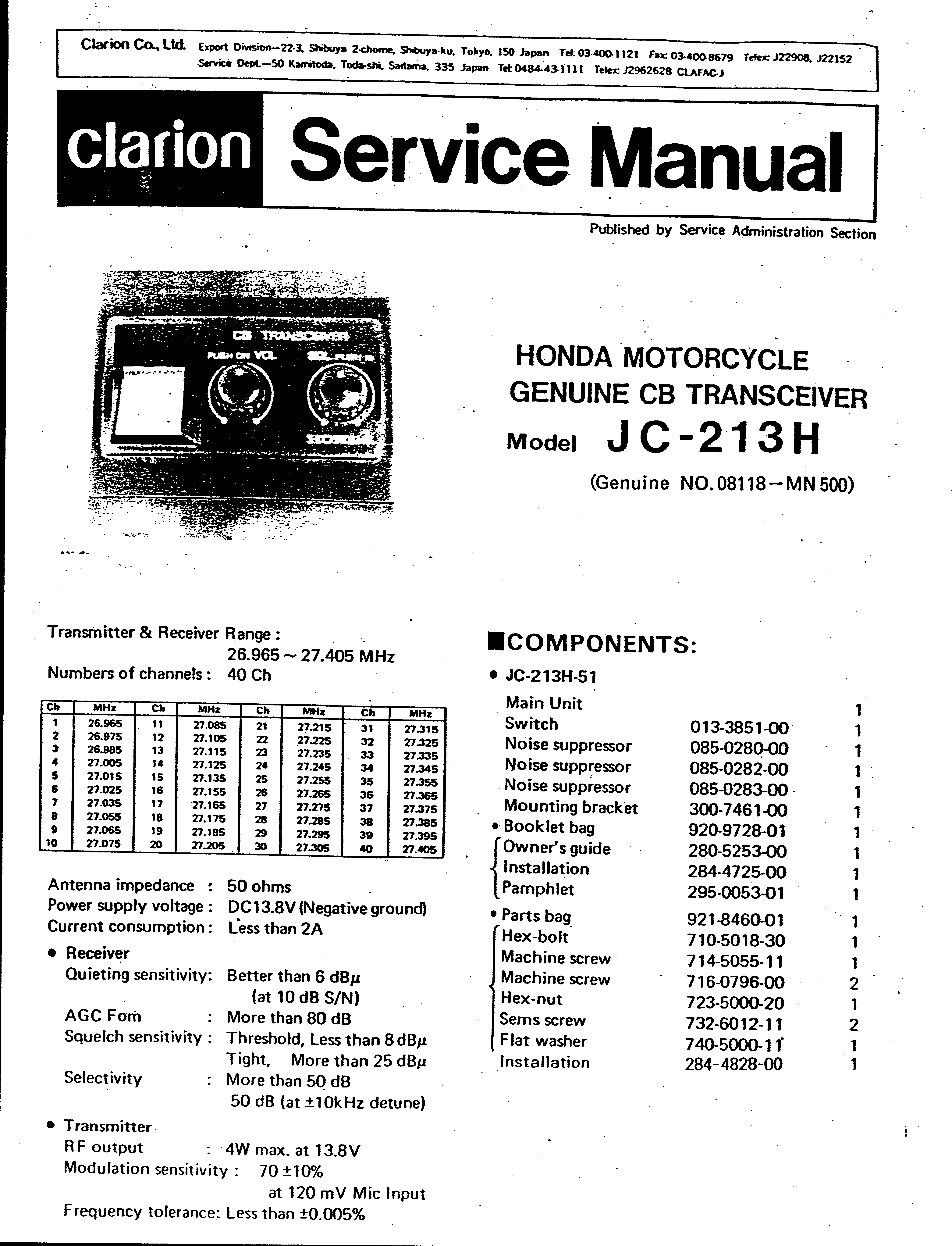 Service Manual For Honda Clarion Cb Transceiver All Wiring Diagram Free Download Schematic
