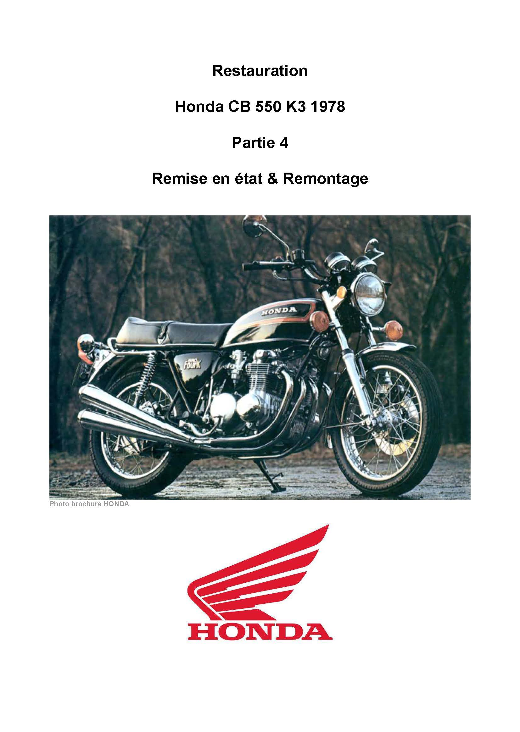 Master brake cylinder restoration for Honda CB550K3 (1978) (French)