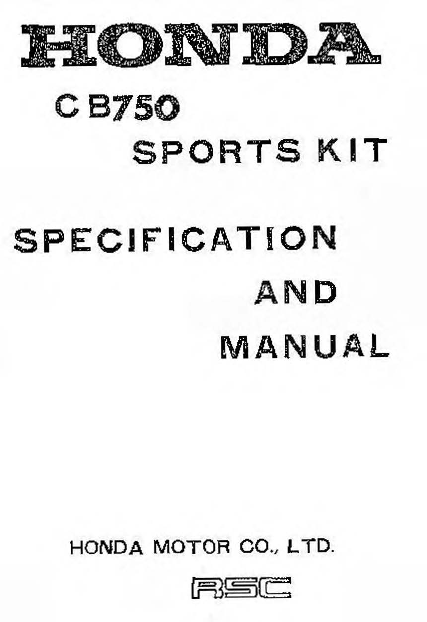 Honda CB750F Factory Sports Kit Manual