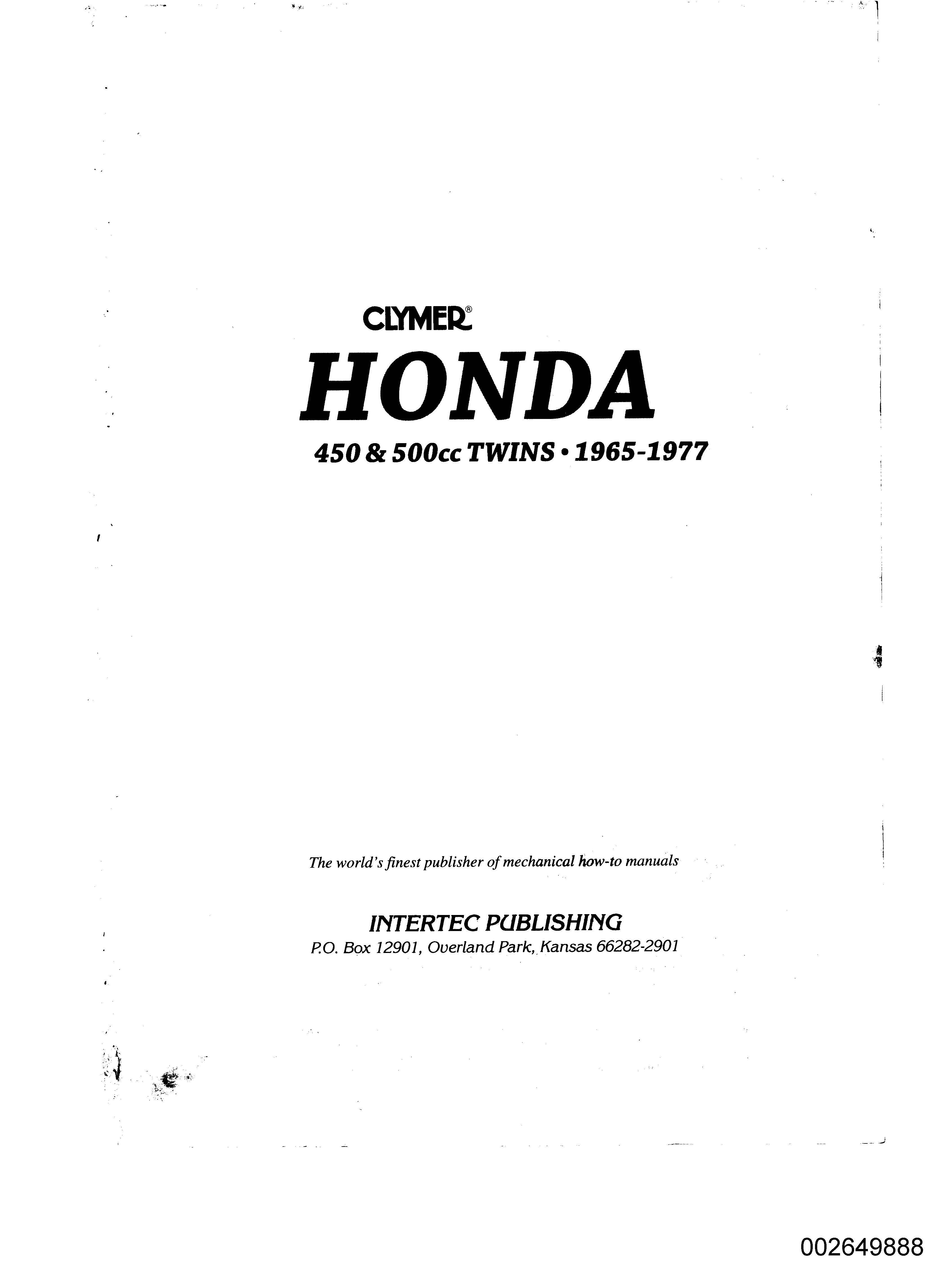 Clymer Honda 450&500 (1965-1977) Twins Workshop Manual