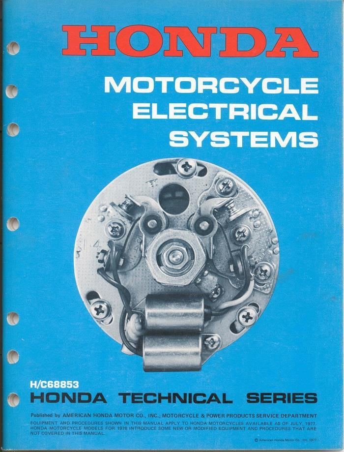 Honda Motorcycle Electrical System (1977-1978)