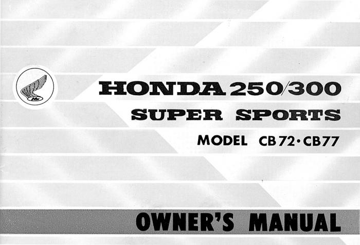 Honda CB72 250 Owner's Manual