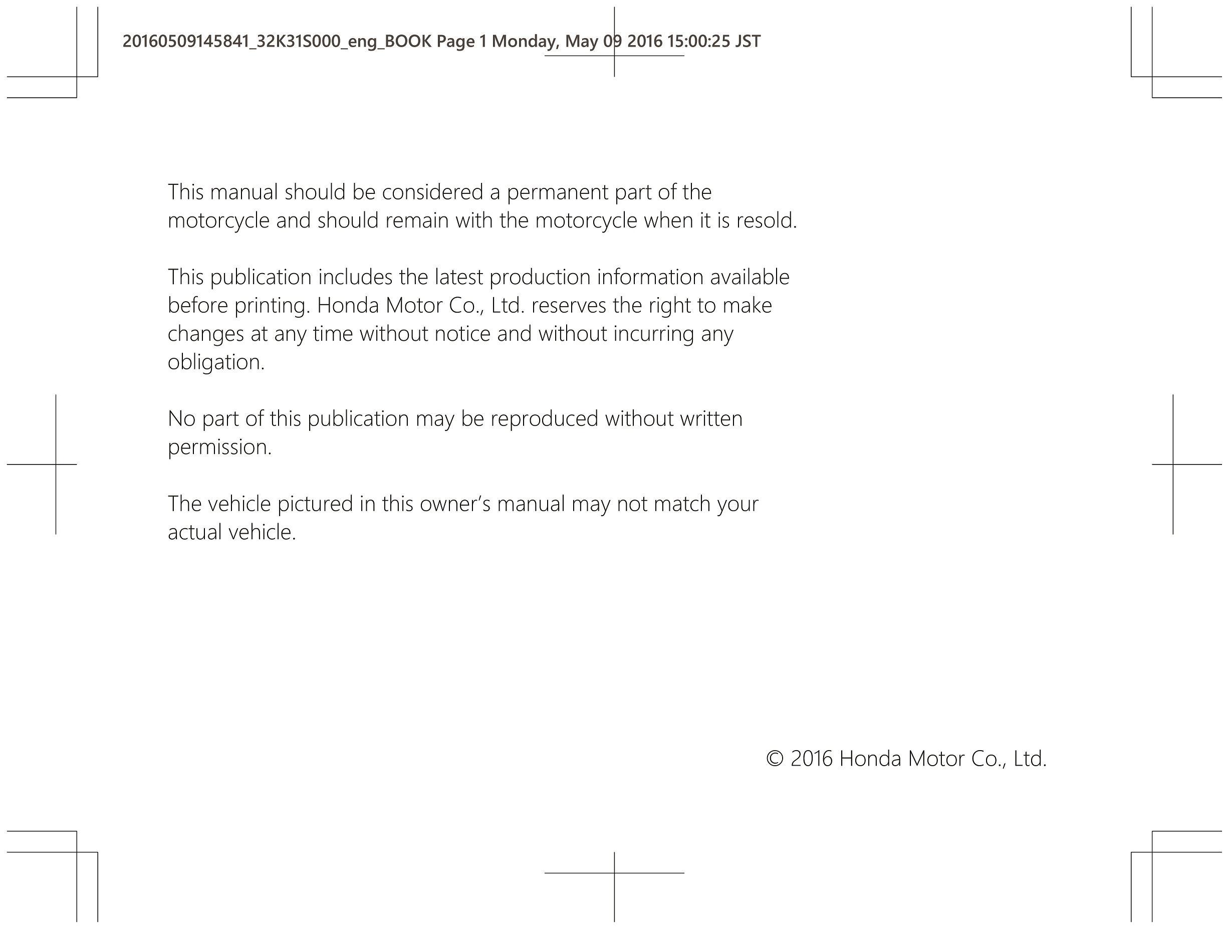 Owners manual for Honda CB250 (2016)