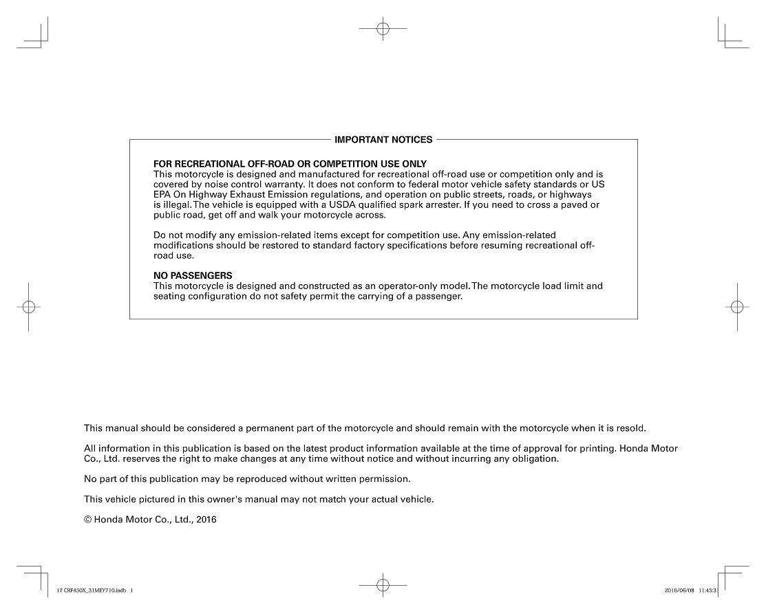 Owners manual for Honda CRF450X (2017)