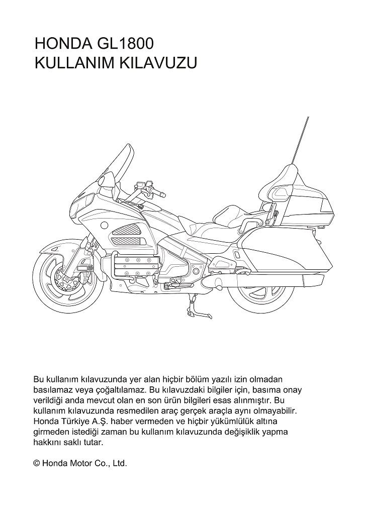 Owners manual for Honda GL1800 (Turkish)