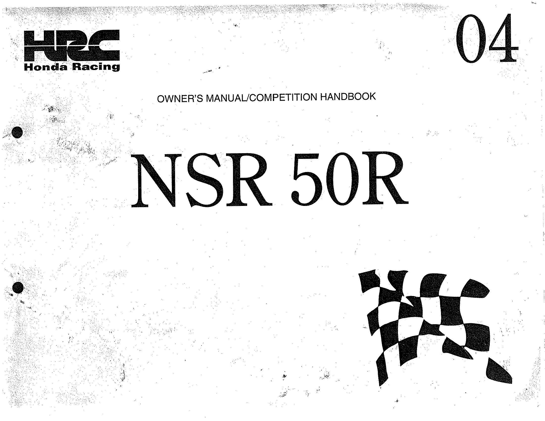 Owner's Manual for Honda NSR50R