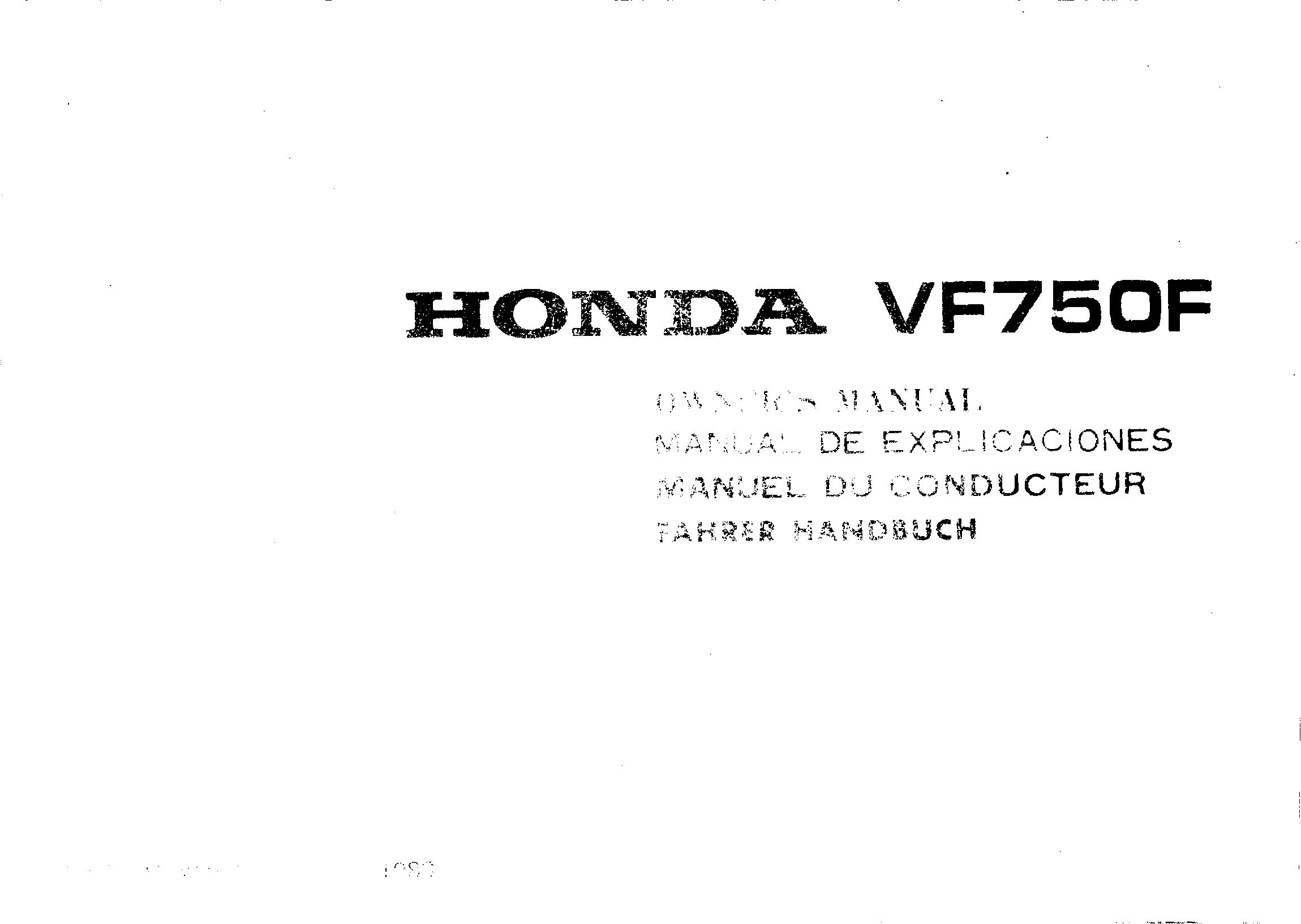 Owner's manual for Honda VF750F (1984)