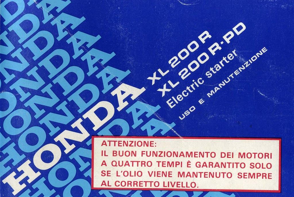 Owner's Manual for Honda XL200R-PD (Italian)
