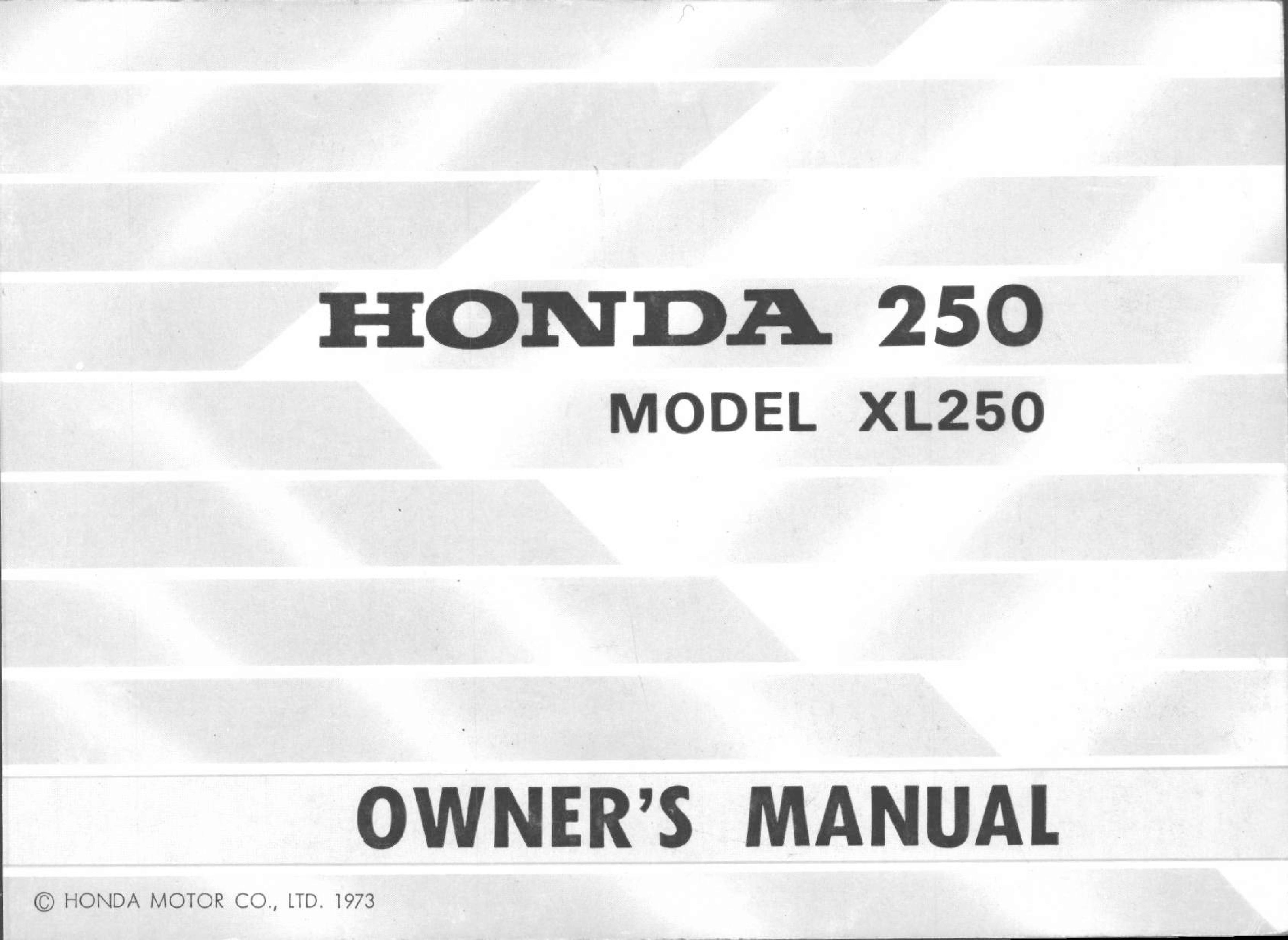 Owner's manual for Honda XL250 (1973)