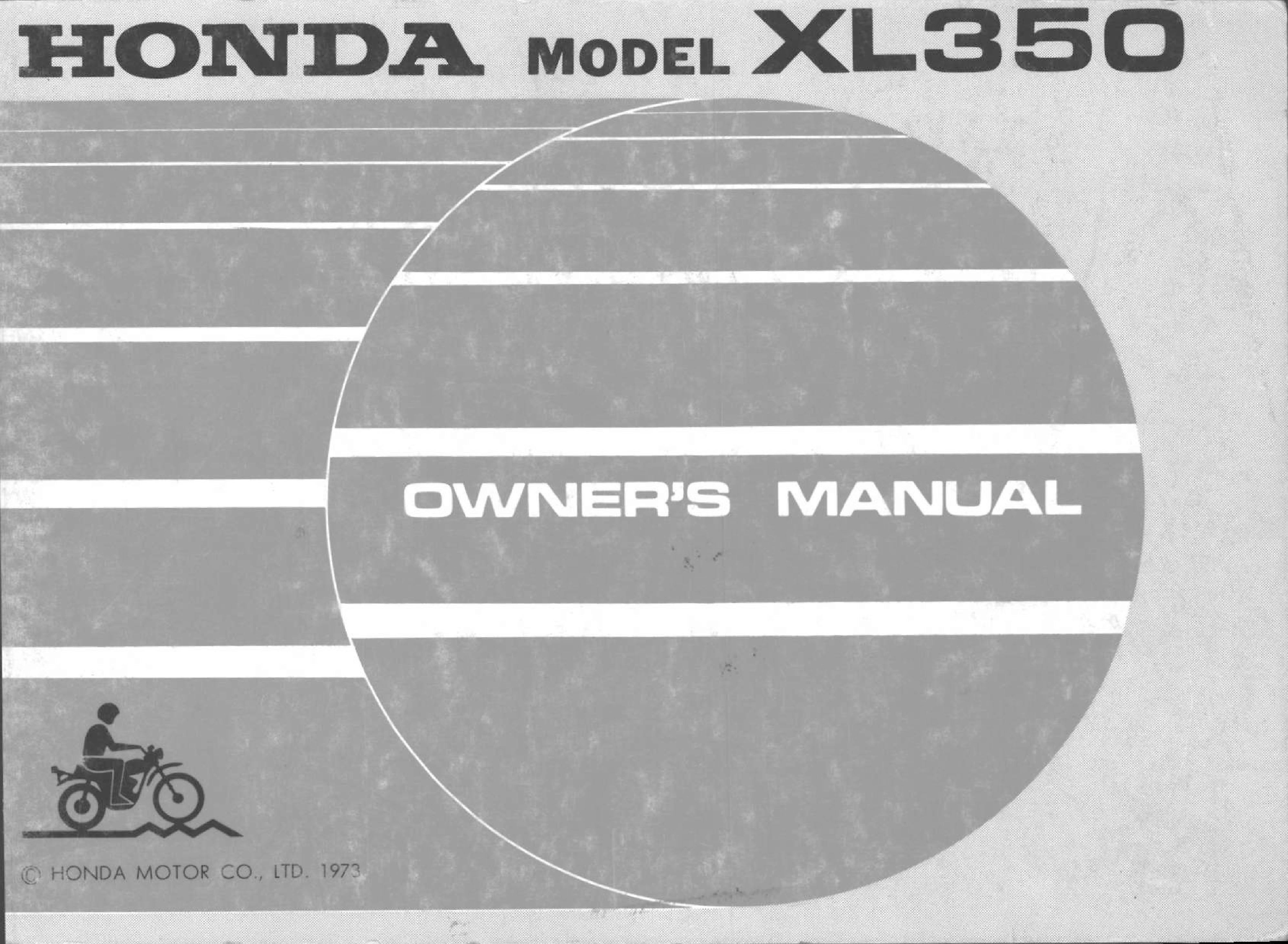 Owner's manual for Honda XL350 (1973)