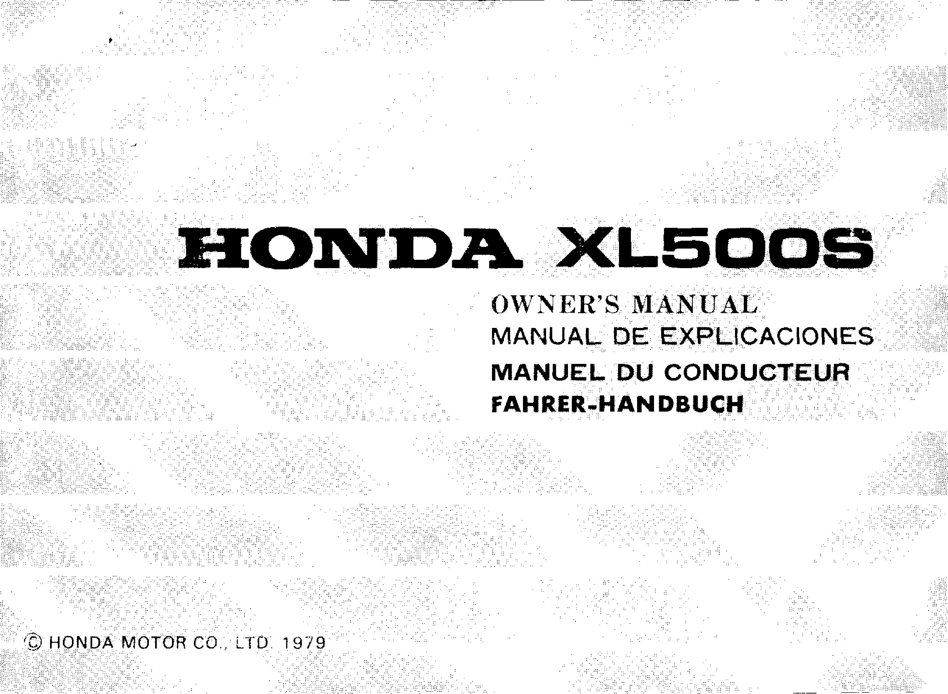 Owner's manual for Honda XL500S (1979)