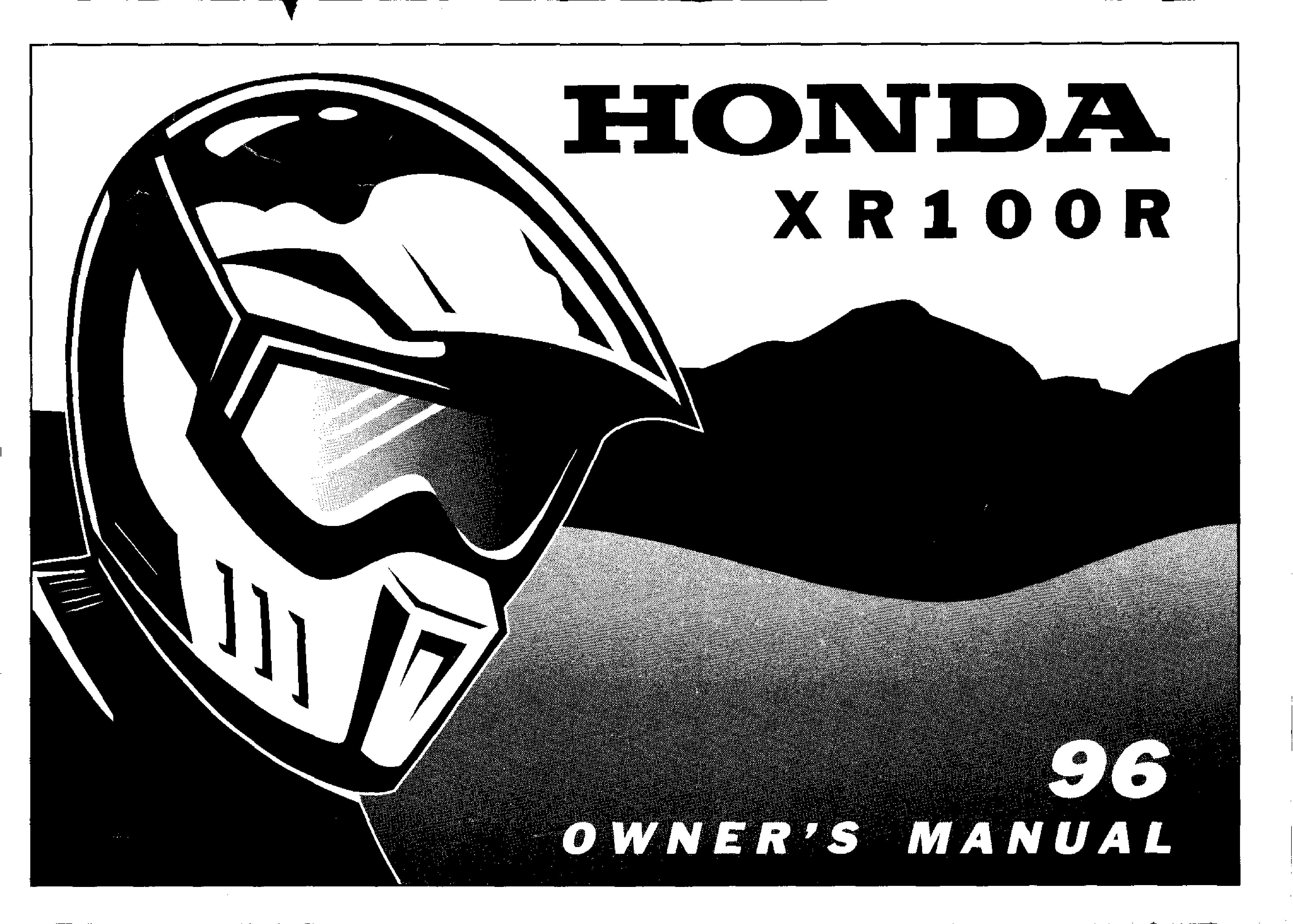 Owner's manual for Honda XR100R (1996)