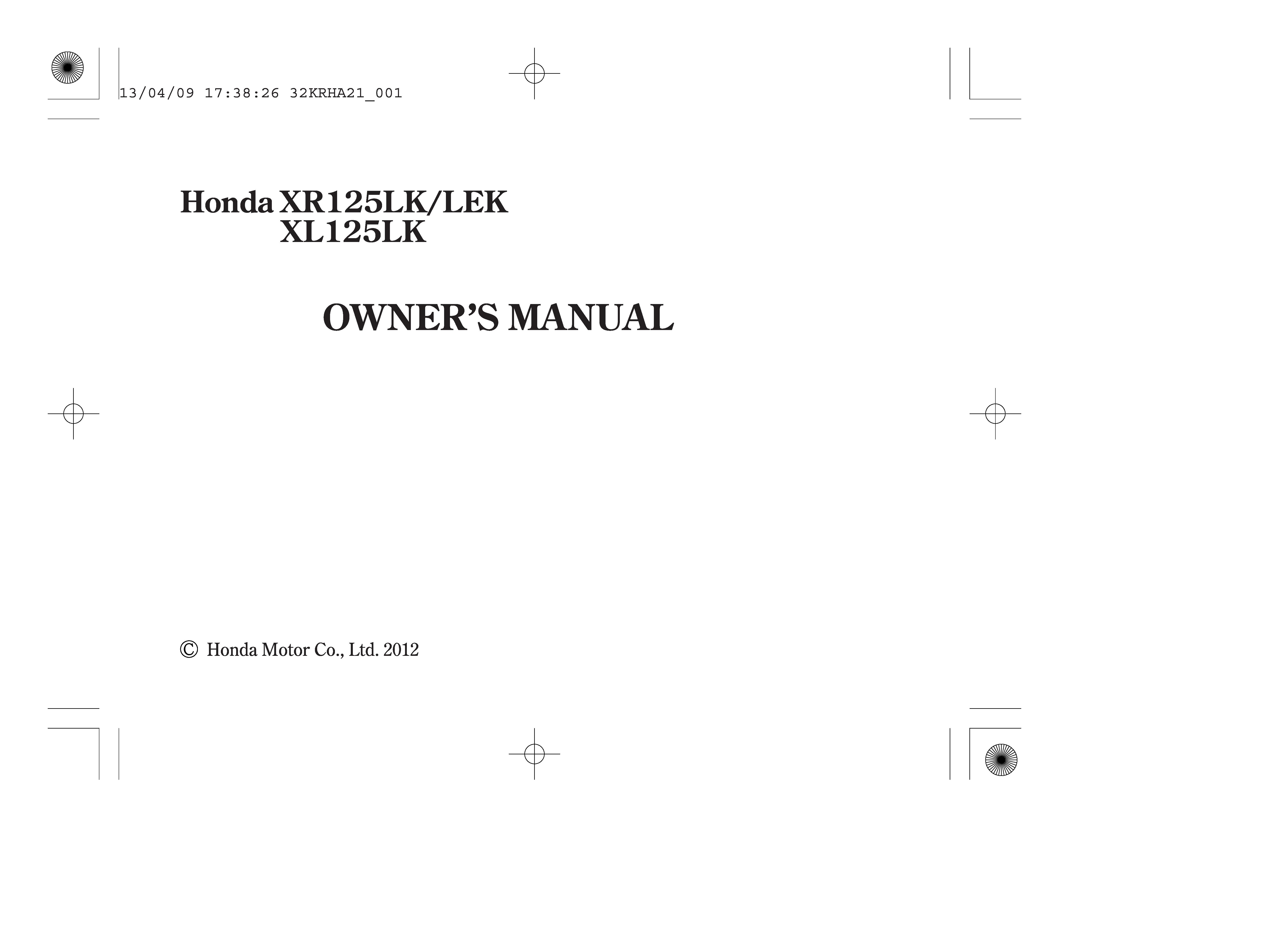 Owner's manual for Honda XR125LEK (2012)
