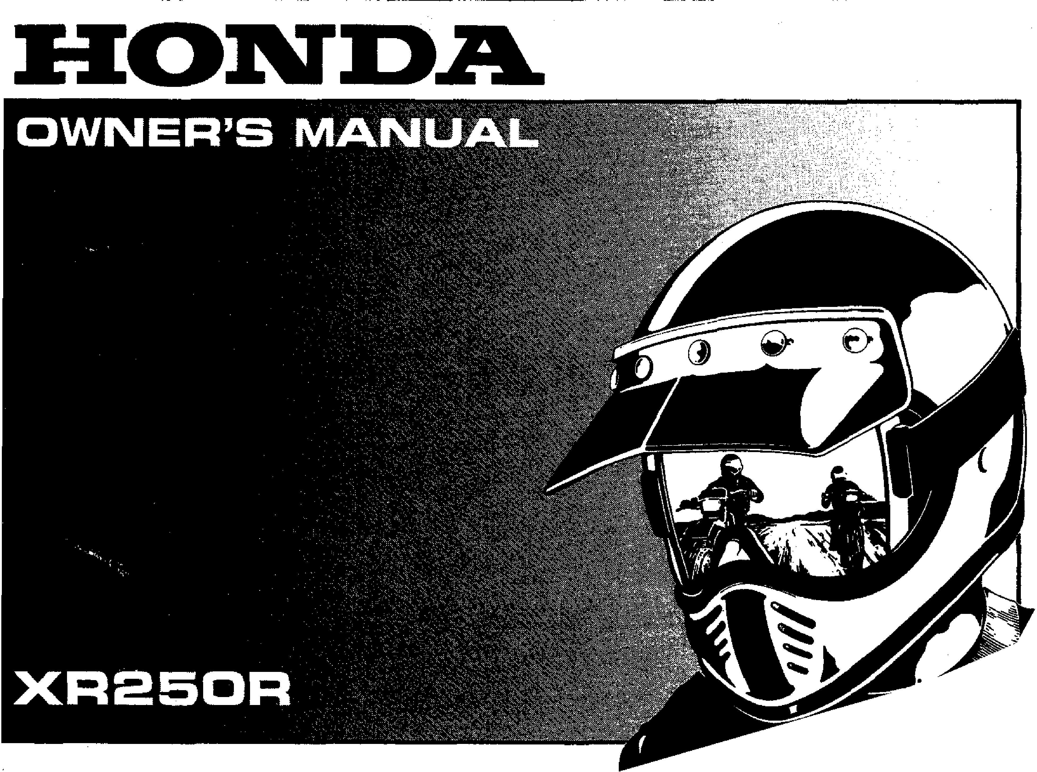 Owner's manual for Honda XR250R (1999)