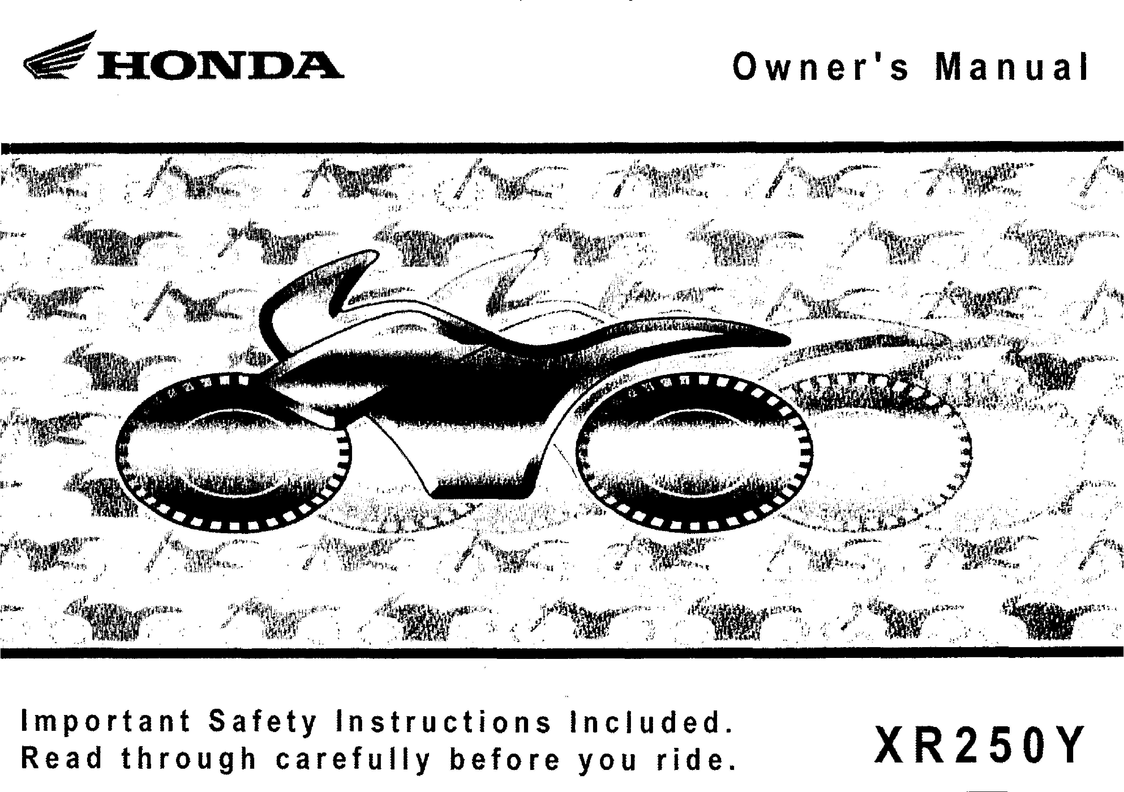 Owner's manual for Honda XR250Y