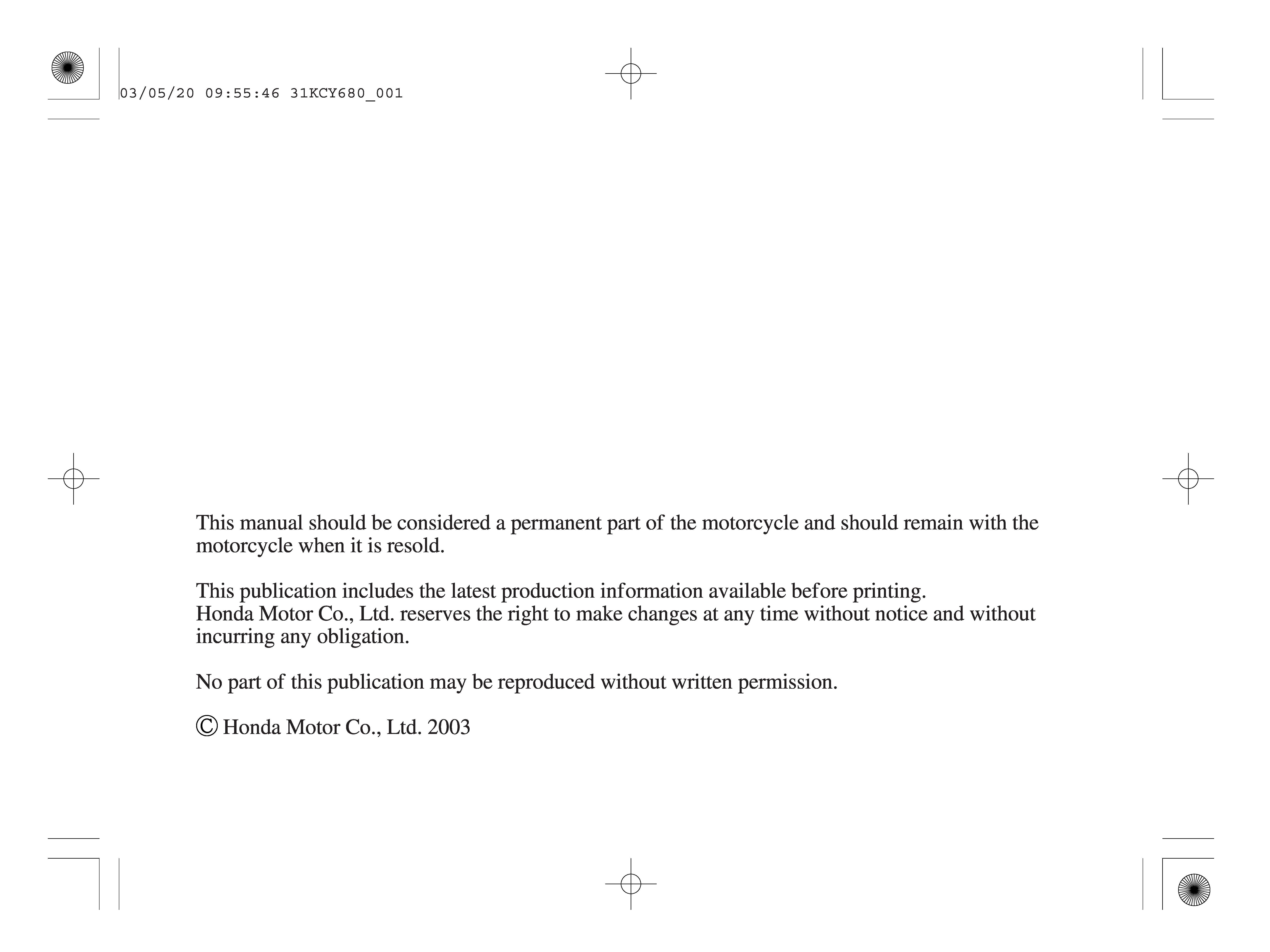 Owner's manual for Honda XR400 (2004)