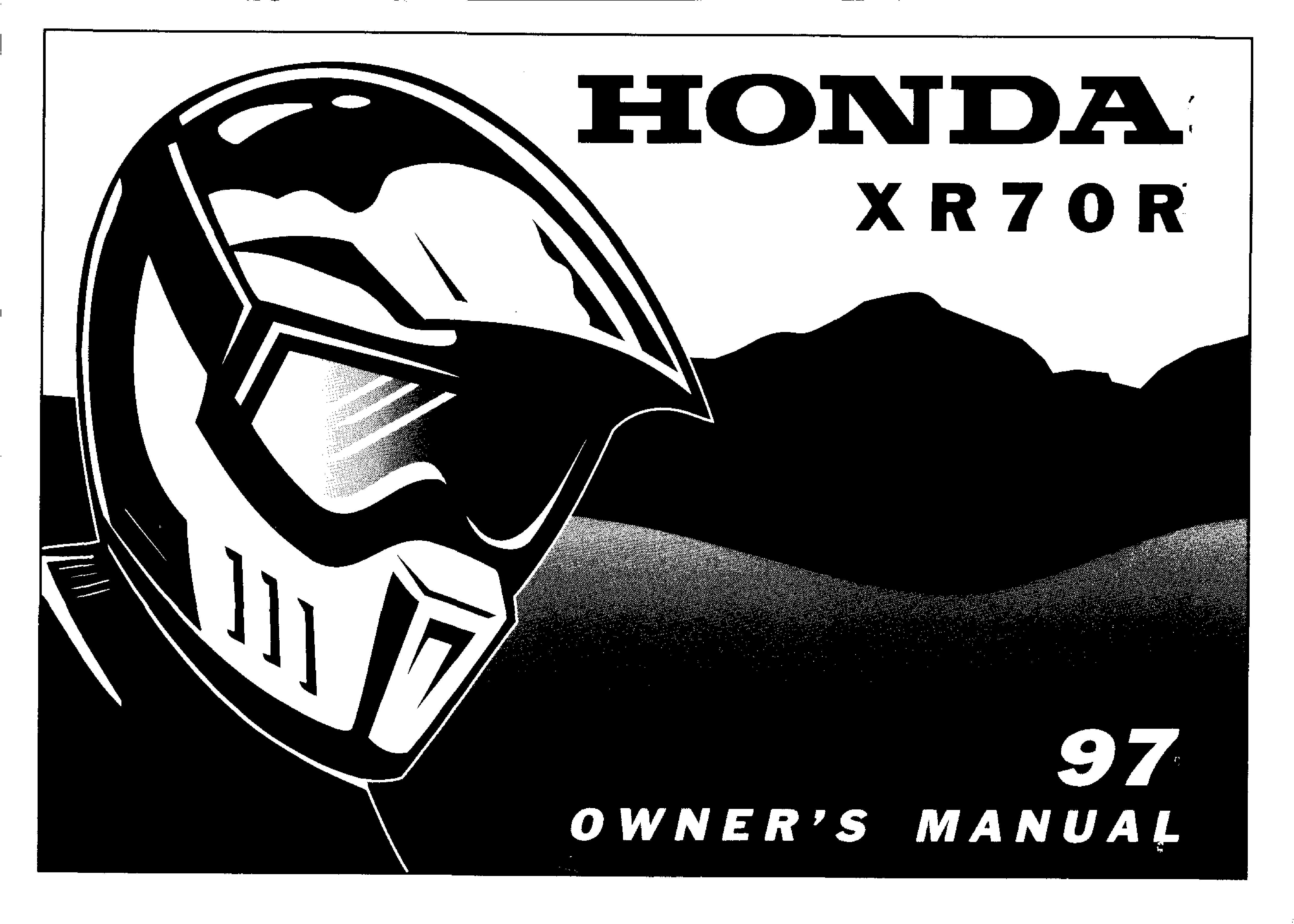 Owner's manual for Honda XR70R (1997)