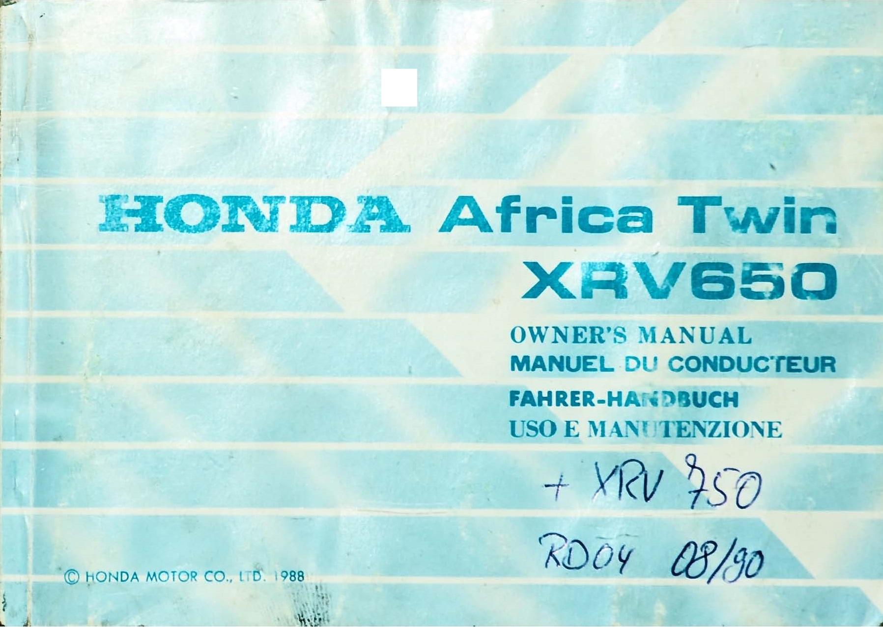Owners manual for Honda XRV650 (1988)
