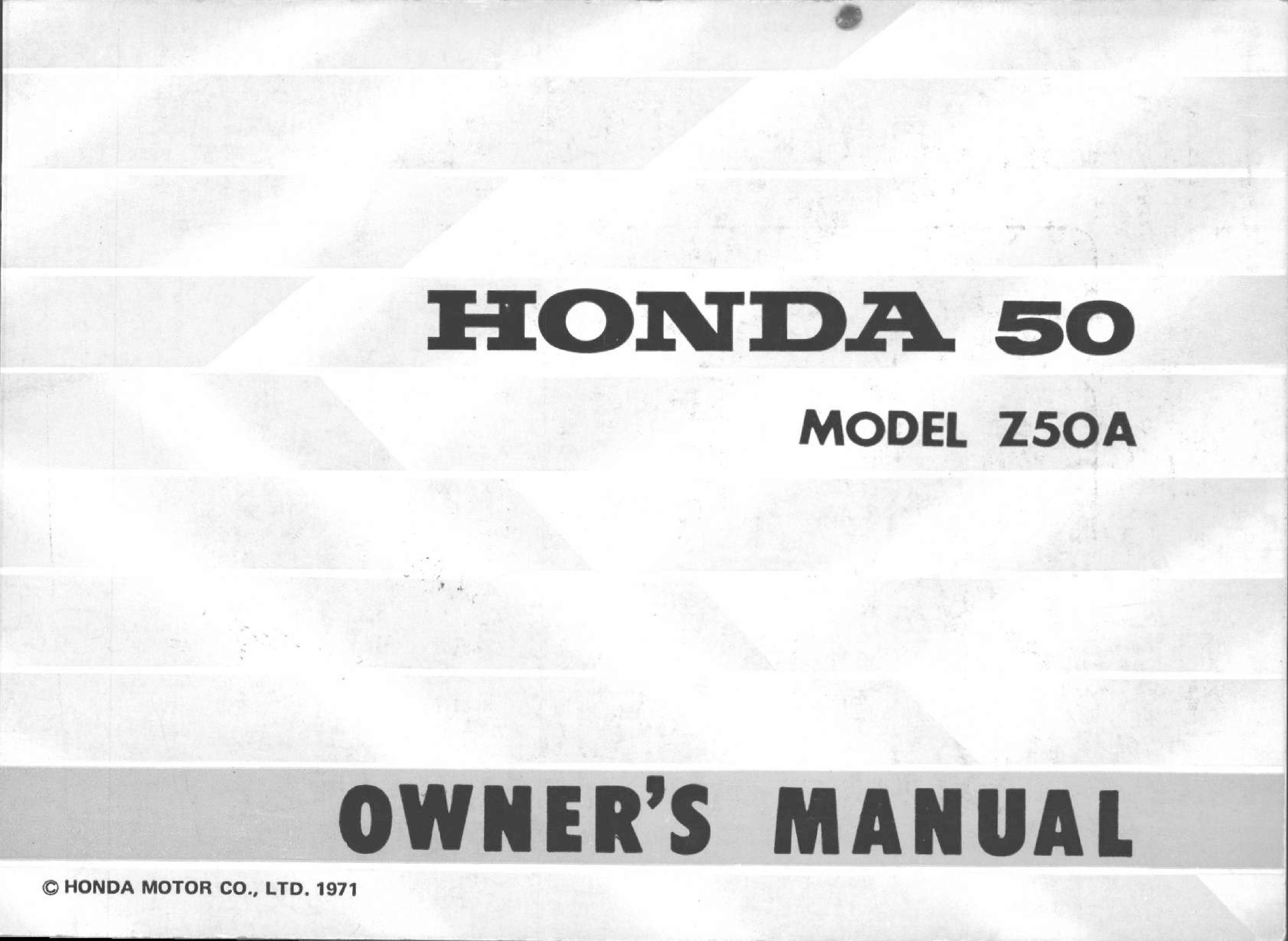 Owner's manual for Honda Z50A (1971)