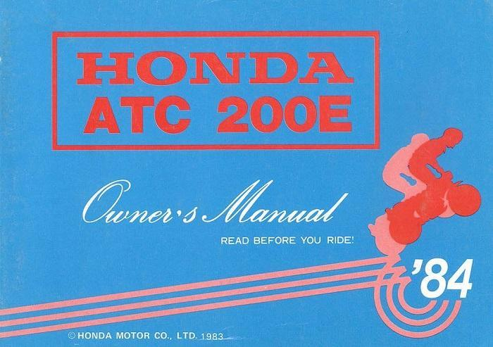 Honda ATC2000E (1984) Owner's Manual