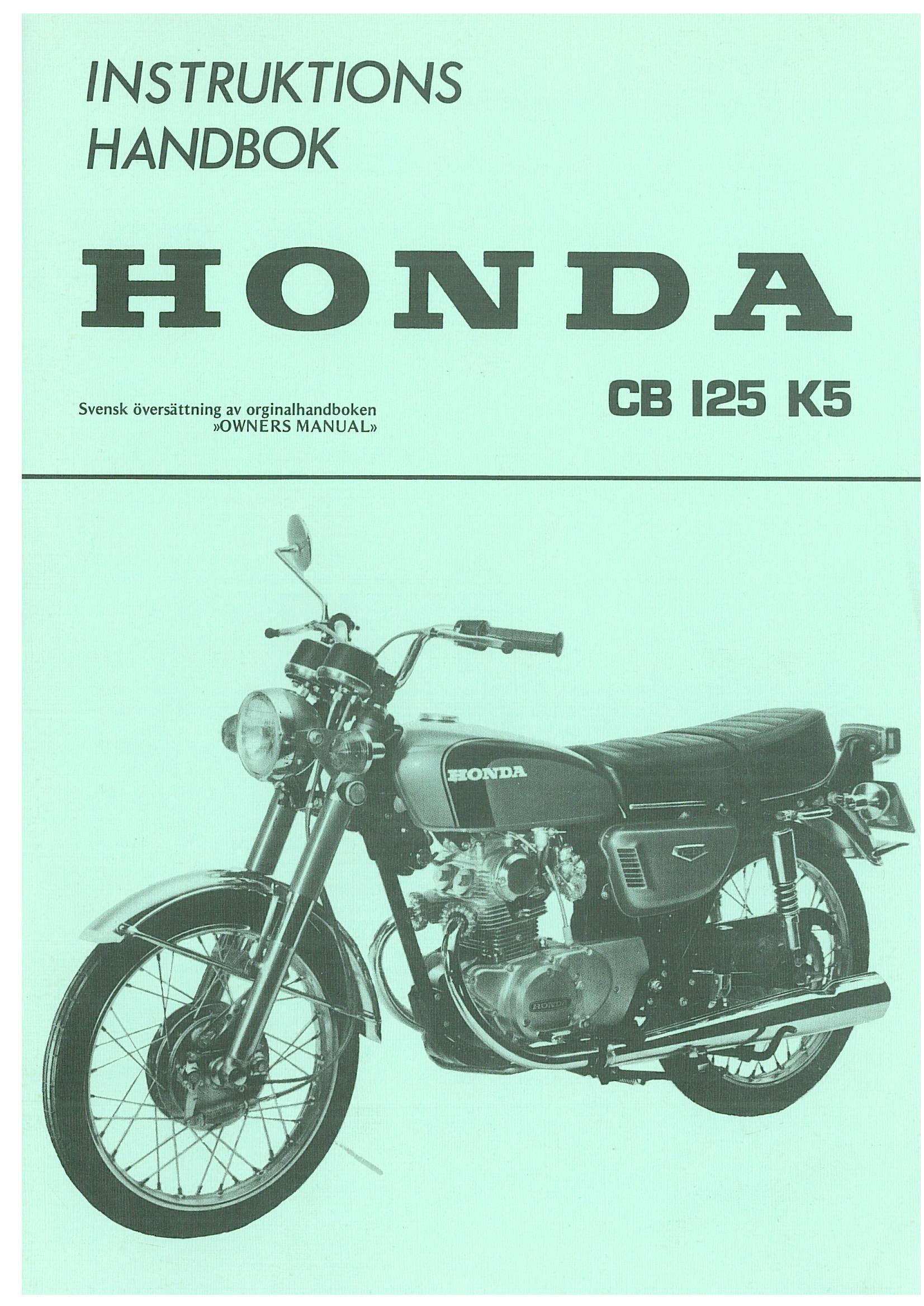 Honda CB125K5 Owner's Manual (Swedish)