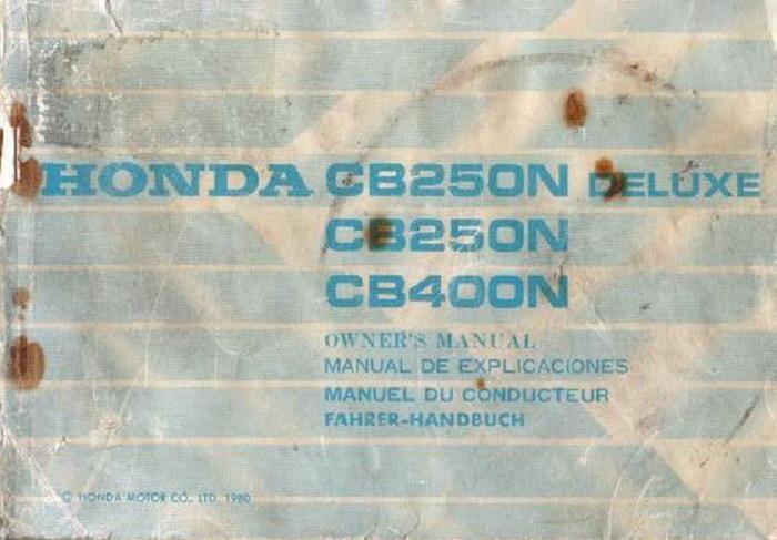 Honda CB250N DeLuxe (1980) Owner's Manual