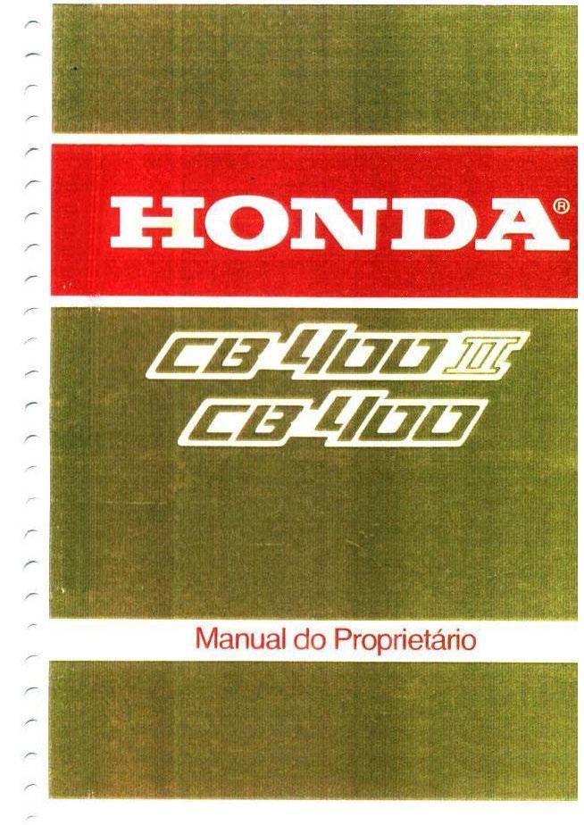 Honda CB400 (Portuguese) Owner's Manual