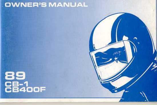 Honda CB400F (1989) Owner's Manual