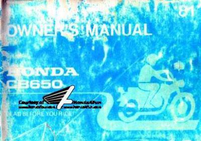 Honda CB650 (1981) Owner's Manual