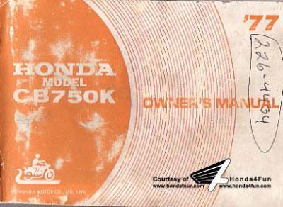 Honda CB750K (1977) Owner's Manual
