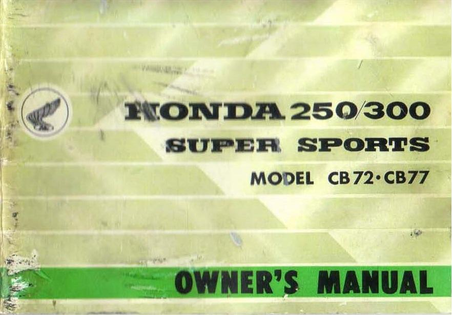 Owner's manual for Honda CB77 (1966)
