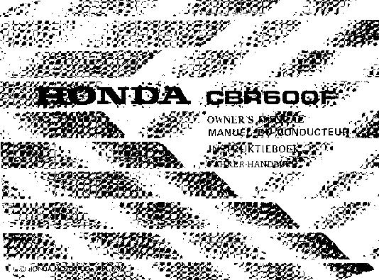 Honda CBR600F (1986) Owner's Manual
